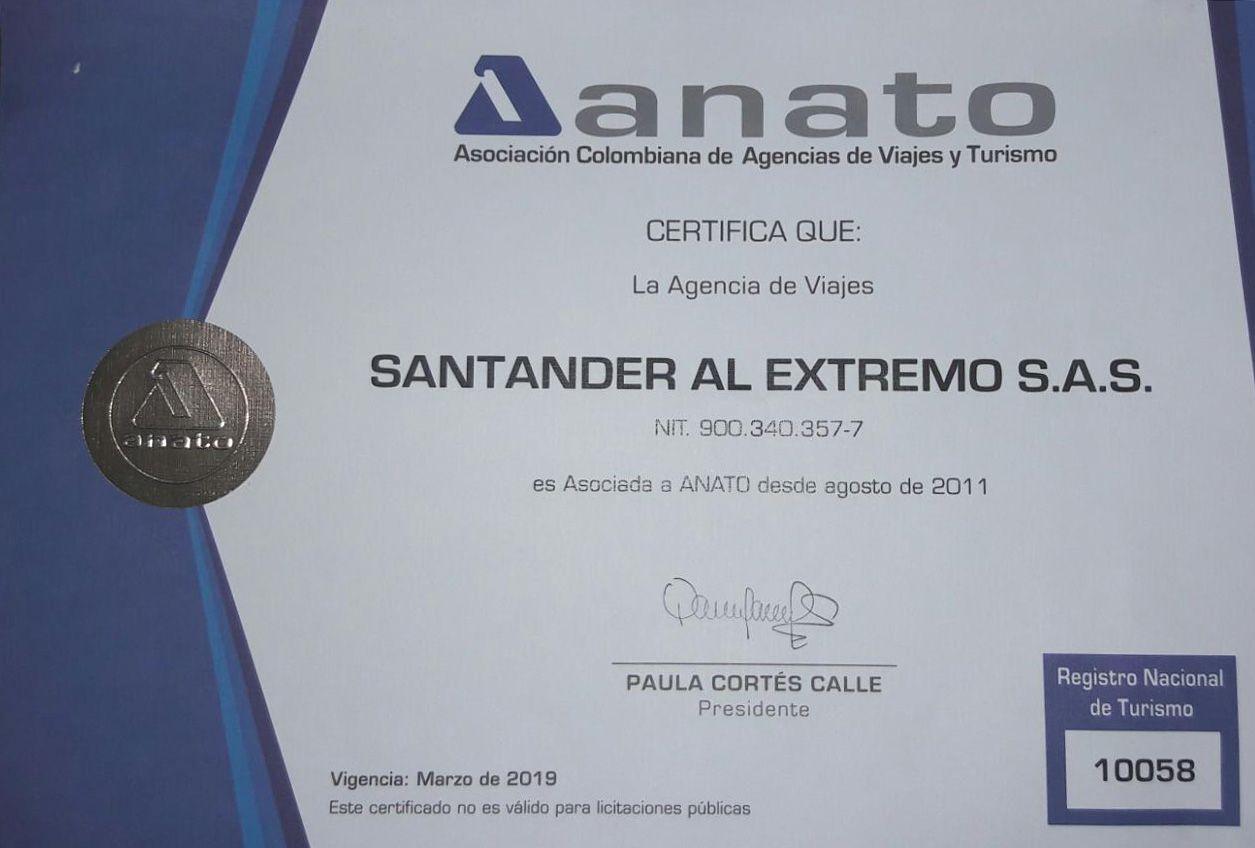 Certificado Agencia ANATO