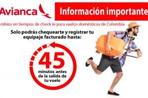 Cambios en tiempos de check in para vuelos domésticos de Colombia